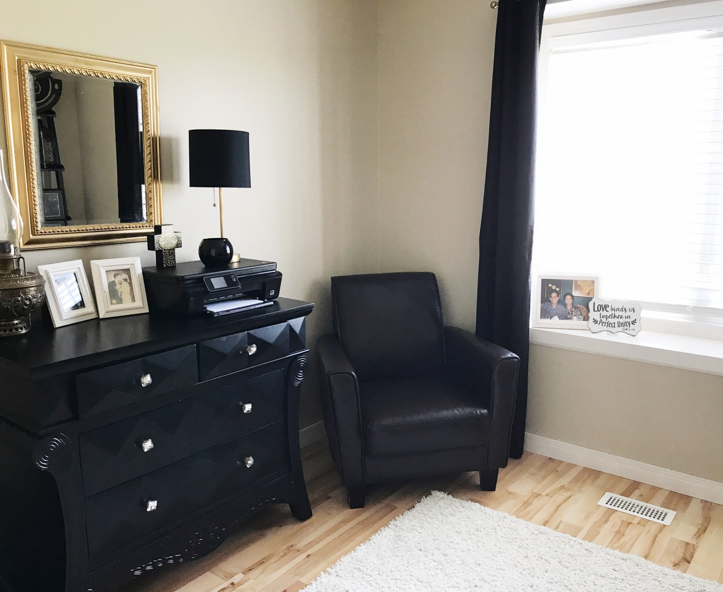 black and gold office space sitting area